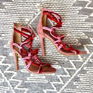 Pink Strappy Sandal Heels